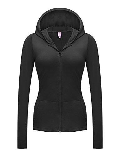 628235b483b24 Regna X No Bother Women s Full Zip up Jersey Spandex Workout Yoga Hooded  Jacket Black S