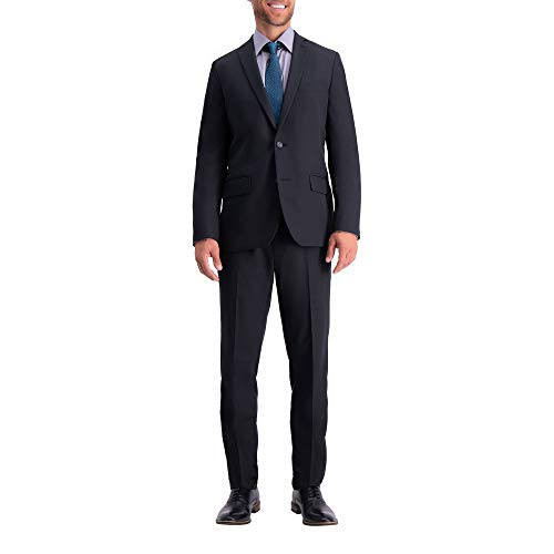 Haggar HZ80243 Men's Active Series Herringbone Slim Fit Suit, Black - 46 L