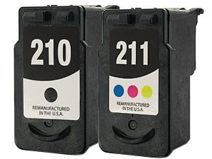 Remanufactured Ink Cartridge Replacement for Canon PG210 2974B001 CL211 2976B001 (1 Black 1 Color 2 Pack)