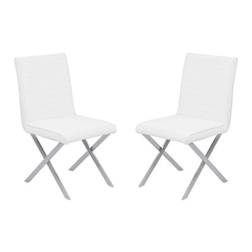 Armen Living LCTESIWHBS Tempe Dining Chair Set of 2 in White Faux Leather and Brushed Stainless Steel Finish (Leather Chairs Cross Dining)