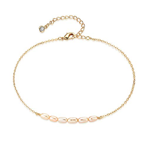Mevecco Gold Dainty Champagne Pearl Anklet,14K Gold Plated Cute Freshwater Cultured Bead Boho Beach Anklet Minimalist Foot Chain Ankle Bracelet for Women