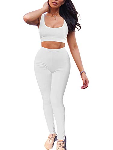 GOBLES Women's 2 Piece Outfits Tank Crop Top Skinny Long Pants Sets Tracksuits White