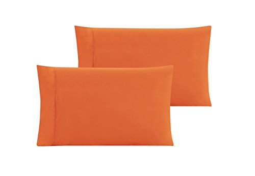 QUEEN size Solid ORANGE Pillow Cases 1500 Thread Count Egypt