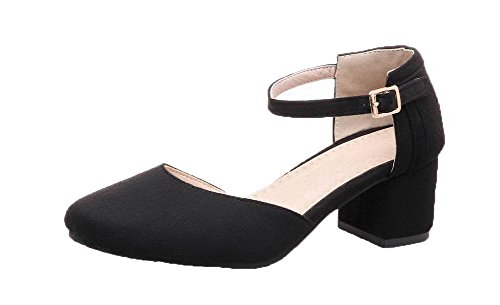 VogueZone009 Women Frosted Closed-Toe Kitten-Heels Buckle Solid Sandals Black