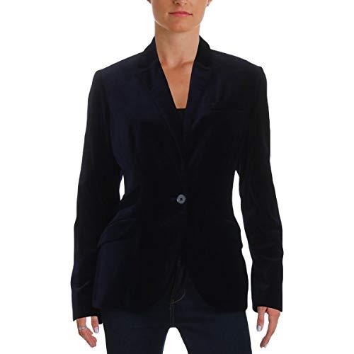 (LAUREN RALPH LAUREN Womens DROSOM Velvet Long Sleeves One-Button Blazer Navy 4)