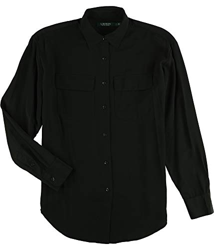 - Ralph Lauren Women's Silk Crepe Button-Down Shirt (S, Polo Black)