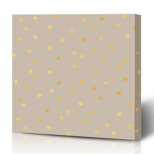 Ahawoso Canvas Prints Wall Art 12x16 Inches Rough Beige Pattern Polka Dot Golden Abstract Yellow Gold Brown Foil Luxury Gradient Cream Design Bronze Decor for Living Room Office Bedroom - Gradient Brown Bronze