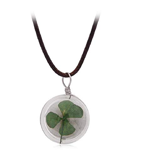 ACCTSY Beautiful Charming Female Time Gem Glass Flowers Women's Pendant Necklace Fashion Natural Dandelion Daffodils Four Leaf Clover Four Leaf Clover (Four Leaf Clover Gem)