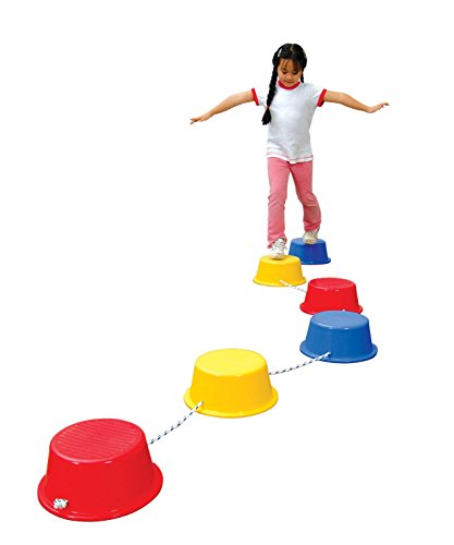 School Smart Stepping Buckets Balance Builders - 5 x 12 inch - Set of 6 - 2 Each of 3 Primary Colors - 018901