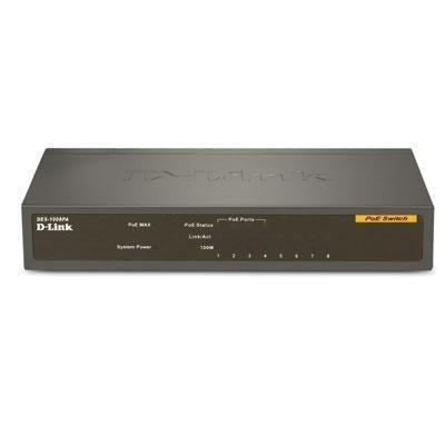 D-Link DES1008PA 8-Port Fast Ethernet Desktop Switch, 4 PoE Ports, Unmanaged by D-Link