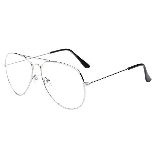 Lunettes De Soleil Covermason Hommes femmes lentille transparente verres Spectacle Metal Frame myopie lunettes Lunette Femme lunettes (argent) f8wMeQ8N
