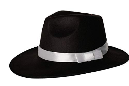 1920s Gatsby Panama Fedora Gangster Hat for Men Flapper Men Costume Accessory (Black)]()