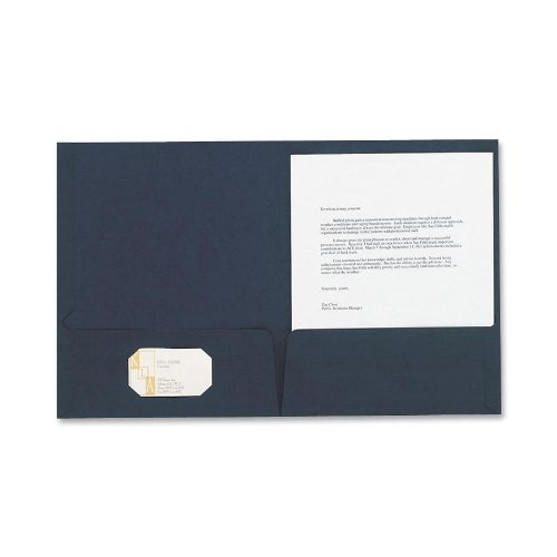 Oxford(R) Linen-Like Twin-Pocket Portfolios, Navy, Pack Of 5
