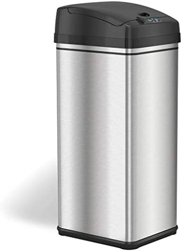 iTouchmuch less 13 Gallon Stainless Steel Automatic Trash Can with Odor-Absorbing Filter, Wide Opening Sensor Kitchen Trash Bin, Powered by way of Batteries (now not incorporated) or Optional AC Adapter (bought one at a time)