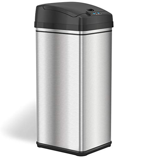 iTouchless 13 Gallon Automatic Trash Can with Odor-Absorbing Filter and Lid Lock, Power by Batteries (not included) or…
