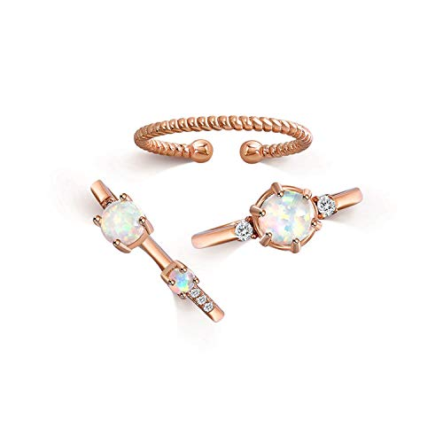 QUINBY Stacking Knuckle Rose Gold Plated Bohemian Style Opal Cubic Zirconia Finger Rings Bands 3pcs Set Adjustable - With Opal Band Wedding Mens