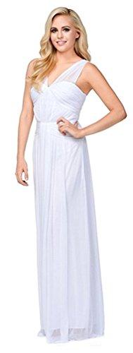 Weiß Kleid Brautjungfernkleid für Brautkleid Abschlussball Lang Abendkleid Elegant Festlich Chiffonkleid Hochzeit v1nwaWvpx