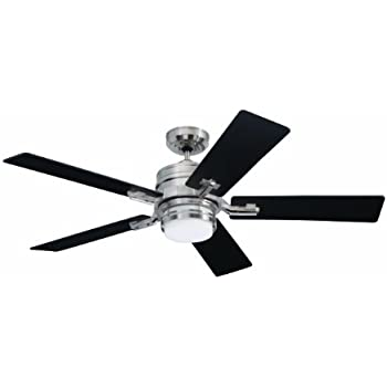 emerson ceiling fans cf880bs amhurst indoor ceiling fan with light and wall control 54inch blades modern ceiling fans in brushed steel finish