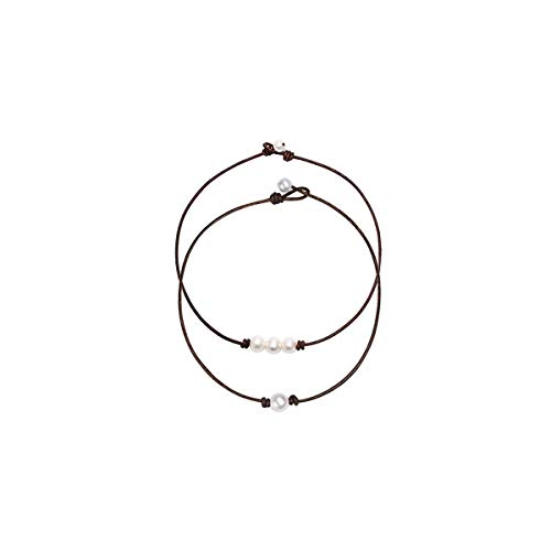 RYANHYPE 2PCS Single One Bead Pearl Choker Necklace with Brown Leather Cord and Three Bead Pearl Choker Necklace for Women Girls
