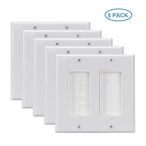 (Double Gang Brush Plate 5 Pack,Decora Wall Plate with Brush Bristles White)