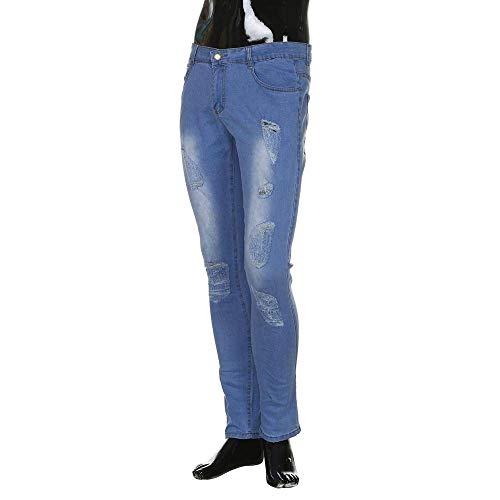 Slim Mezclilla Clásico Casual Elásticos Hole Pantalones De Jeans Fit Pantalones Cher Casual Taped Retro Casual Skinny Pantalones Hombres Rasgados Holes Denim Pantalones Chicos Hellblau Cracks RT Biker Hombres 0z6xAa