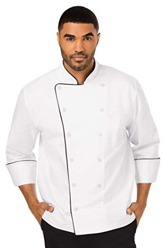 Dickies Chef Executive Coat with Stain Repellent with Piping, White/Black, Medium from Dickies