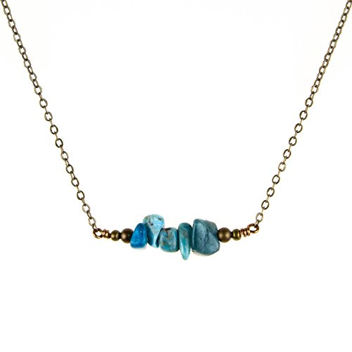 Turquoise Bead Bar Crystal Necklace in Bronze - December Birthstone