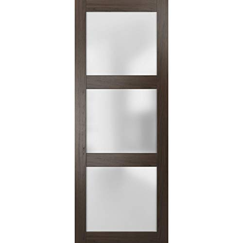 Slab Barn Door Panel Frosted Glass 30 x 84 inches | Lucia 2552 Chocolate Ash | Sturdy Finished Doors | Pocket Closet…