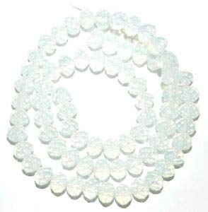 Steven_store CR261 White Opalite Sea Opal 6mm Rondelle Faceted Cut Crystal Glass Bead 16