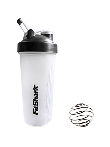 Shaker Bottle, Protein Shaker Bottle, Protein Shake Bottles - 28 Oz Protein Shaker Bottle With Steel Mixer Ball By FitShark - Anti Spill Lid, Stainless Steel Mixing Ball, BPA Free, Eco Friendly, Measu