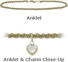 10K 10'' Yellow Gold Wheat Style 0.85tcw. White Topaz Heart Charm Anklet by Elite Jewels