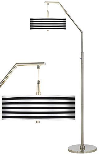 Modern Arc Floor Lamp Brushed Nickel Black Horizontal Stripe Pattern Giclee Drum Shade for Living Room Reading Bedroom - Giclee Glow