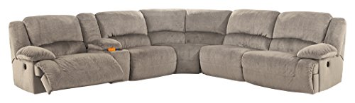 (Ashley Furniture Signature Design - Toletta 6-Piece Sectional - Right Arm Facing Power Recliner with Armless Chair, Wedge, Console & Left Arm Recliner - Granite )