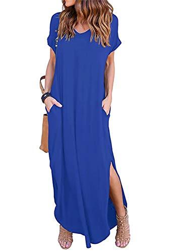 Women's Maxi Dresses with Pocket Short Sleeve Split Loose Casual Dress Blue