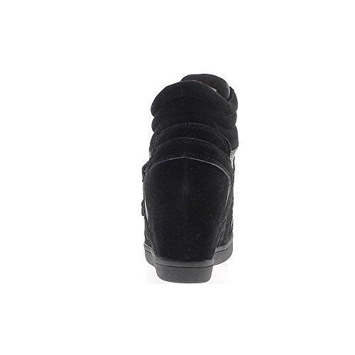 Baskets compensées montantes noires à talon de 7,5cm