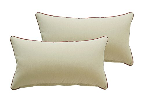 Bossima Indoor/Outdoor Light Khaki Rectangle Toss Pillow, Seasonal Replacement Cushions,Corded Cushion Set of 2
