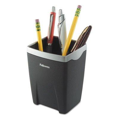 Suites Pencil Cup - Office Suites Divided Pencil Cup, Plastic, 3 1/16 x 3 1/16 x 4 1/4, Black/Silver