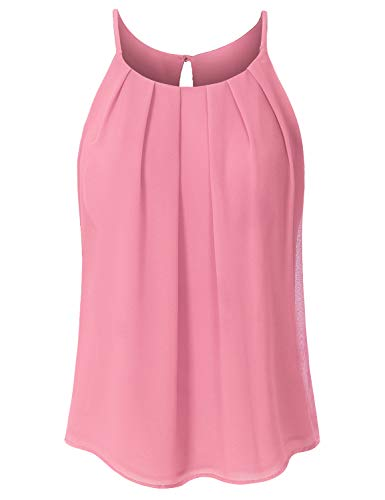 JSCEND Women's Round Neck Pleated Double Layered Chiffon Cami Tank Top A-Mauve S
