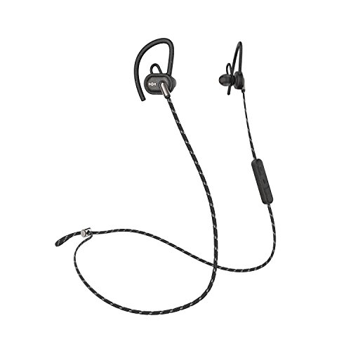 House of Marley, Uprise In-Ear Headphones | 8-hour Battery Life, Sweat-Proof & Weather Resistant (IPX5 Rated), Customizable Fit, Microphone & 3-Button Controls, Tangle-Free Braided Cable | Black
