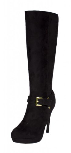 Perth! By Delicious Knee High Platform High Heel Boot with Gold Side Buckle in Black Faux Suede hoNeN