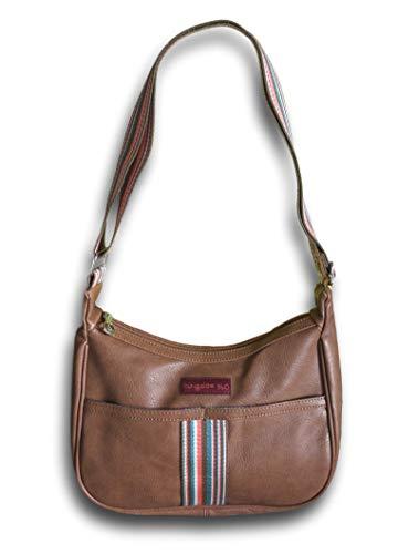 Bungalow 360 Original Vegan Leather Striped Hobo Bag (Nutmeg)