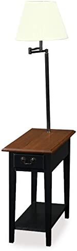 Leick Chair Side-Lamp End-Table with-Drawer, Antique Black
