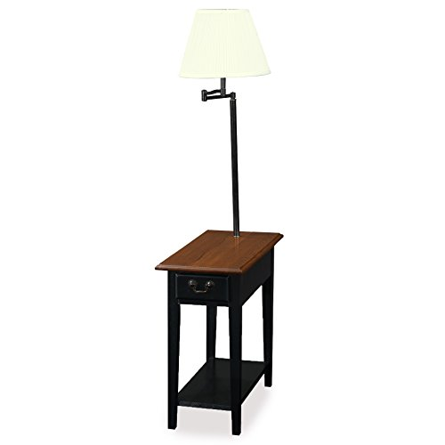 - Leick Chair Side Lamp End Table with Drawer, Antique Black