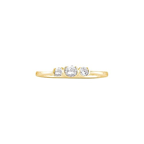 Womens 10K Yellow Gold 3 Stone Past Present Future Diamond Promise Engagement Ring 1/4 CT (I2-I3 clarity; G-H color)