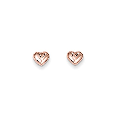 - Solid 14k Rose Gold Love Heart Post Studs Earrings (6mm x 7mm)