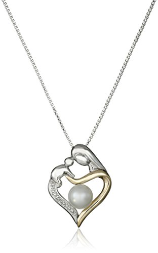 """Sterling Silver and 14k Yellow Gold Freshwater Cultured Pearl Diamond Accent Heart Pendant Necklace, 18"""""""