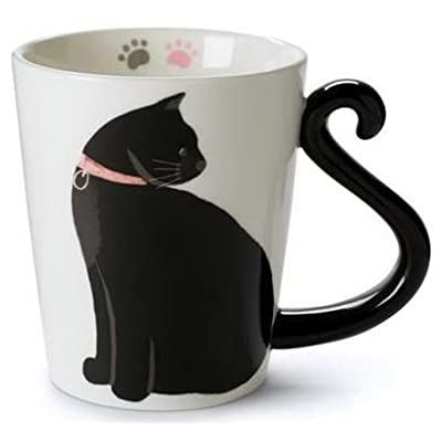 Cat Fan related Products Cute Cat Mug for Coffee or Tea: Ceramic Cup for Cat Lovers with Black and...