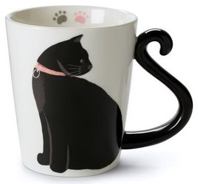Cute Cat Mug for Coffee or Tea: Ceramic Cup for Cat Lovers with Black and White Kitty and Tail Shaped Handle - Unique 11 Oz Accessories Mugs Make Best Presents for Pet Mom or Dad, Coworker and More by Tri-coastal Design