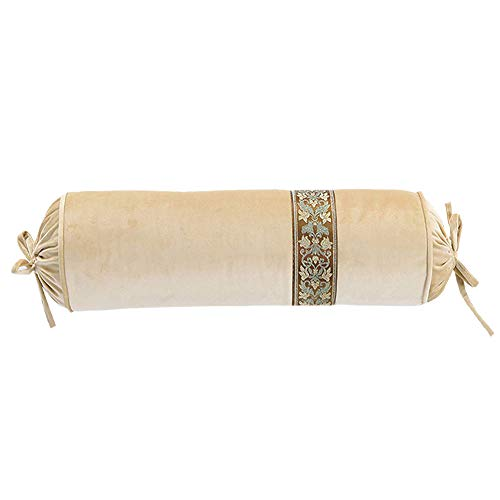 le Candy Pillow Crystal Velvet Cylindrical Pillow Cushion Hand Pillow with Core (Beige) ()