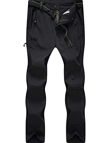 DAFENGEA Men Outdoor Waterproof Quick Dry Lightweight Hiking Mountain Pants (B Black, Medium) (Best Mens Climbing Pants)